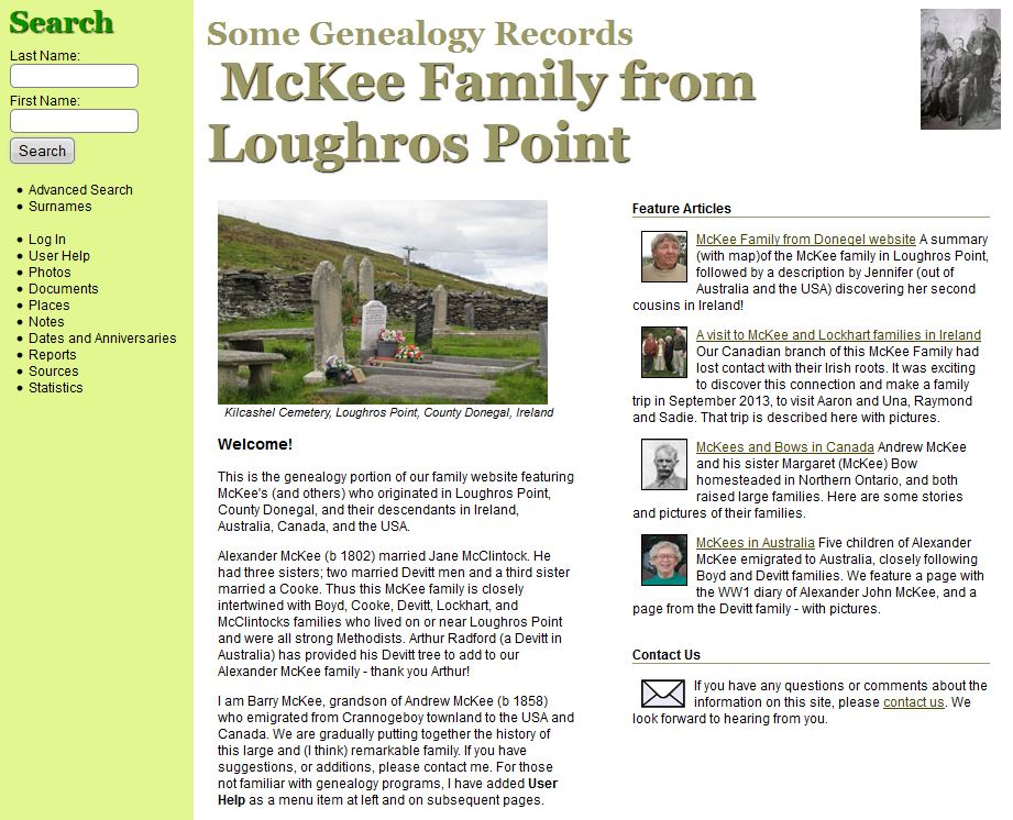 Genealogy – McKee Family from Donegal